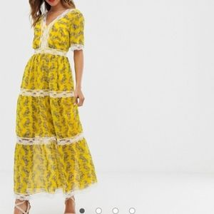 ASOS Design Lace Insert Tiered Maxi Dress (12)